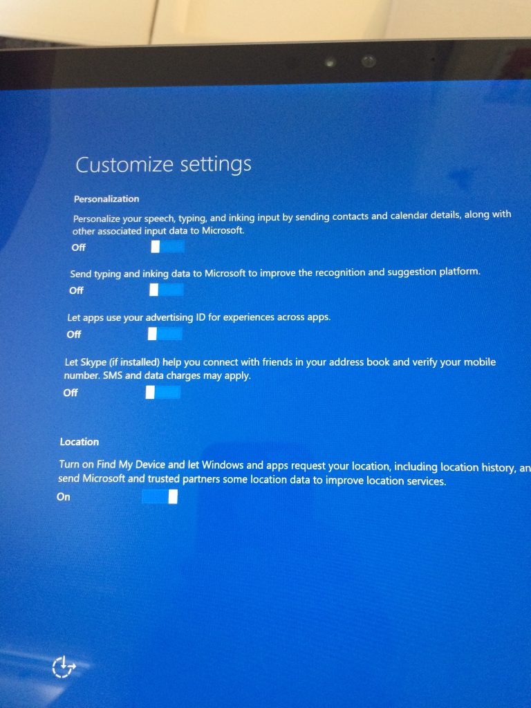 Not planning on using the stock Windows browser, don't have any other Windows machines to share updates with. Though that's a clever idea. There were a lot more pages of switches to turn off than this; I only photographed the ones that I wanted to tweet snarkily about.